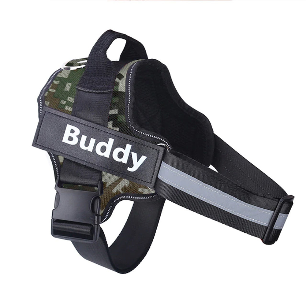 Personalized-Dog-Harness-Green-Camouflage
